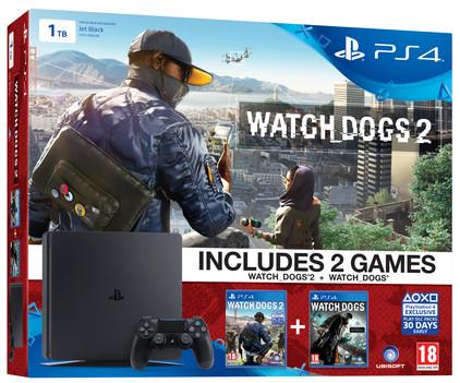 Sony PlayStation 4 Slim 1 TB + Watch Dogs 2