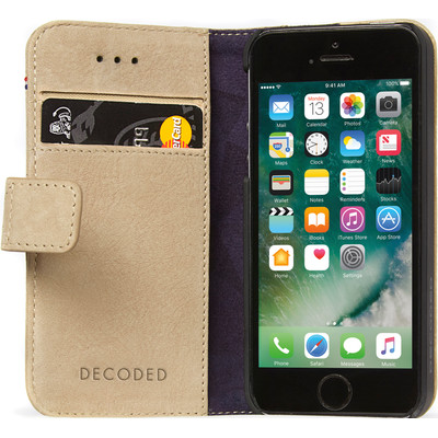 Image of Decoded Leather Book Apple iPhone 5/5S/SE Beige
