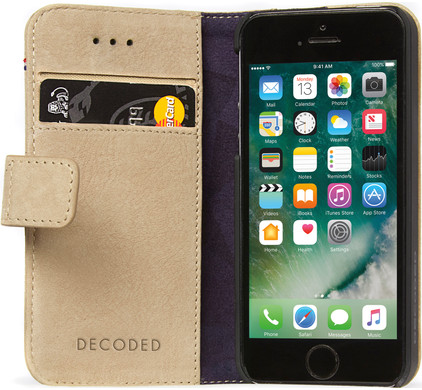 Decoded Leather Book Apple iPhone 5/5S/SE Beige