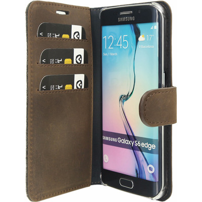 Valenta Booklet Raw Vintage Samsung Galaxy S6 Edge Bruin