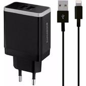 Mobiparts Thuislader Dual USB 4.8A Lightning Zwart