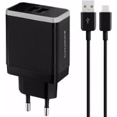 Mobiparts Thuislader Dual USB 4.8A USB-C Zwart