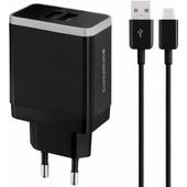 Mobiparts Thuislader Dual USB 2.4A USB-C Zwart