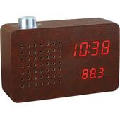Gingko Radio Click Clock Bruin/Rood