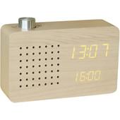 Gingko Radio Click Clock Beuken/Oranje
