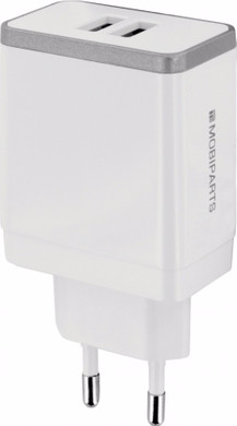 Mobiparts Thuislader Dual USB 4.8A Wit