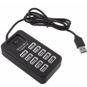 Just in Case 10 ports USB Hub Zwart