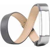Just in Case Double Tour Leren Watchband Fitbit Alta Grey