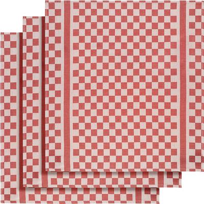 Image of De Witte Lietaer Groom Theedoeken 3 stuks Rood