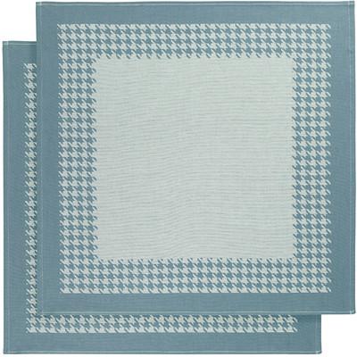 Image of De Witte Lietaer Pied de Poule Theedoeken 2 stuks Blauw