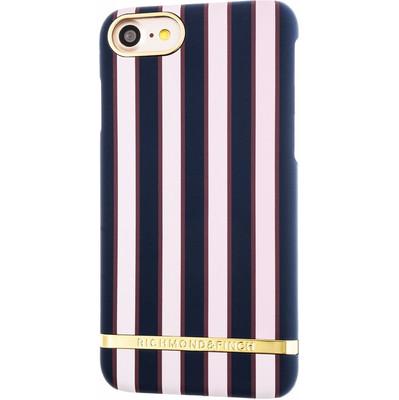 Foto van Richmond & Finch Satin Stripes Apple iPhone 7 Back Cover Blauw/Roze