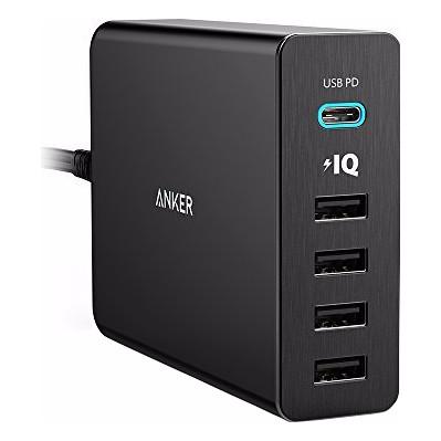 Image of Anker PowerPort+5 met 1 USB-C en 4 USB Poorten Zwart 3A-12A
