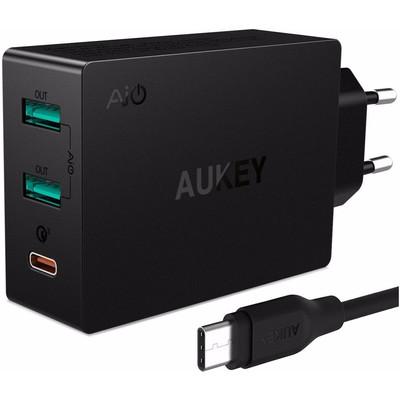 Image of Aukey PA-Y4 Quick Charge 3.0 Oplader 2 USB Poorten en 1 USB C Poort Zwart