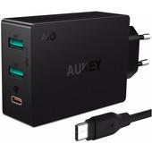 Aukey PA-Y4 Quick Charge 3.0 Oplader 2 USB Poorten en 1 USB C Poort Zwart