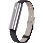 Misfit Ray Polished Stainless Steel/Zwart Leren Polsband