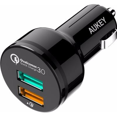 Image of Aukey Autolader Dual USB 3,0A Zwart