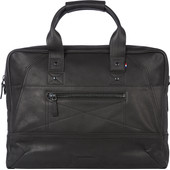 "Decoded Leather Briefcase Messengerbag 15"" Black"