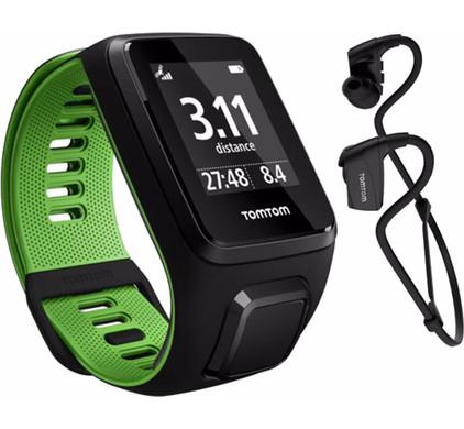 TomTom Runner 3 Music + Headphones Black/Green - S