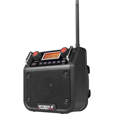 Image of FM Bouwradio PerfectPro Mybox 2 AUX, FM Spatwaterbestendig, Stofdicht, Stofvast Zwart