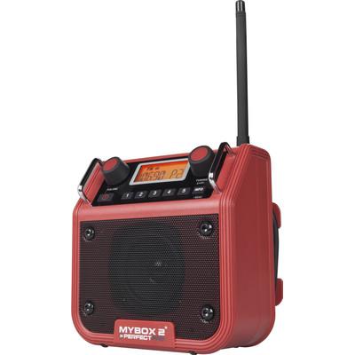 Image of FM Bouwradio PerfectPro Mybox 2 AUX, FM Spatwaterbestendig, Stofdicht, Stofvast Rood