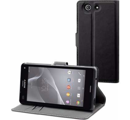 Muvit Luxe Wallet Sony Xperia Z3 Compact Book Case Zwart