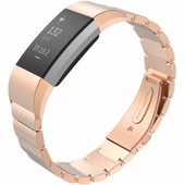 Just in Case Metalen Polsband Fitbit Charge2 Rosegoud
