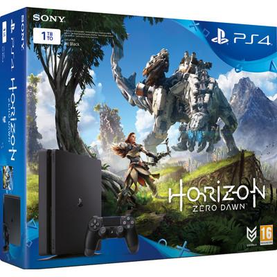 Image of Playstation 4 Slim (Black) 1TB + Horizon Zero Dawn + 3 maanden PS Plus (+ Uncharted 4)