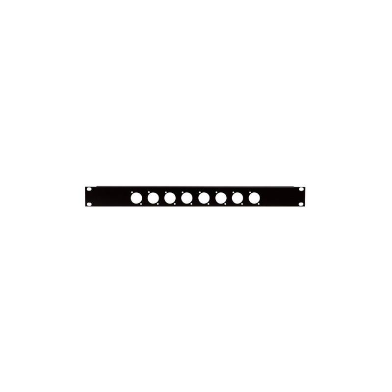 DAP 19 inch paneel 1U voor 8 XLR connectoren D-size 2mm