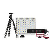Vlogkit met microfoon, gorillapod en verlichting