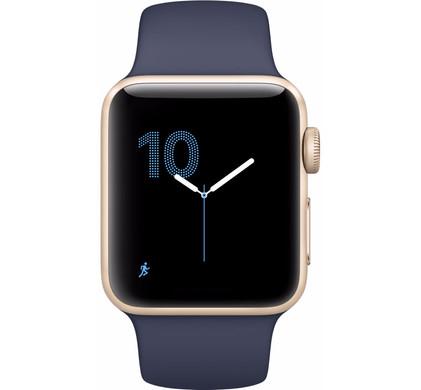Apple Watch Series 2 38mm Goud Aluminium/Middernachtblauwe Sportband