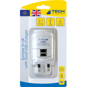 Travel Blue Europa Adapter - UK + USB 2