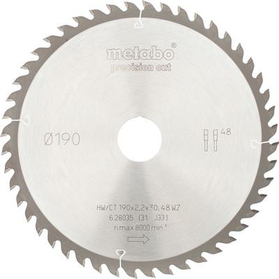 Metabo Zaagblad voor Hout 190x30x2,2mm 48T
