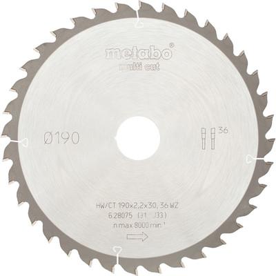 Metabo Zaagblad voor Hout 190x30x2,2mm 36T