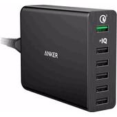 Anker PowerPort 6 met 5 USB Poorten en 1 USB Quick Charge 3.0 Poort 12A Zwart