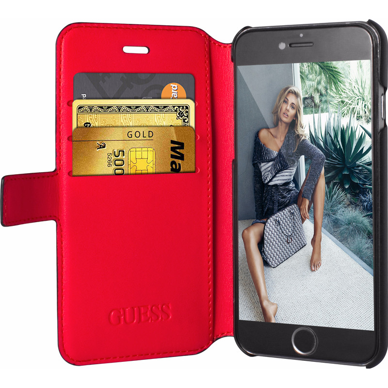 iPhone 6-6S Guess Saffiano Look Wallet Hoesje Zwart