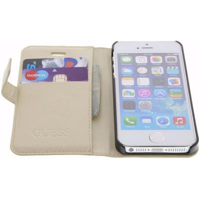 Guess Saffiano Apple iPhone 5/5s/SE Book Case Beige