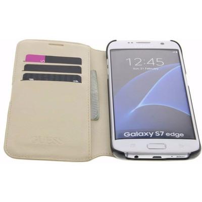 Guess Saffiano Samsung Galaxy S7 Edge Book Case Beige