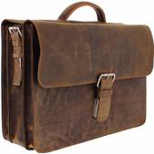 "Plevier Vintage Rundleer Aktetas 17.3"" Bruin"