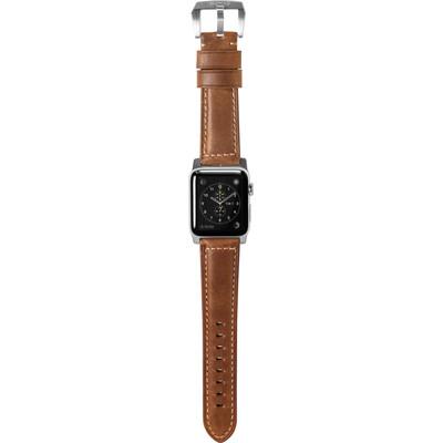 Nomad Apple Watch 42mm Lederen Polsband Bruin/Zilver