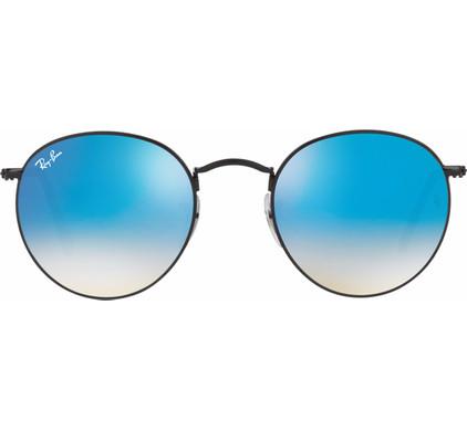 Ray-Ban Round RB3447 Shiny Black / Mirror Gradient Blue