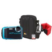 Zomerkit - Fujifilm XP120 Lichtblauw + Geheugen + Tas + Floating Strap