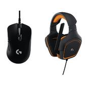 Logitech G403 Gaming muis + G231 Gaming Headset