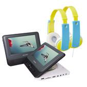 Portable dvd speler + kinderkoptelefoon (2 stuks)