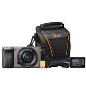 Starterskit - Sony Alpha A6000 Grijs + 16-50mm + Geheugenkaart + Tas + Extra accu