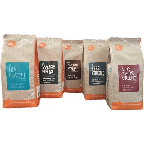 Pure Africa Proefpakket Arabica koffiebonen 5 x 500 gram