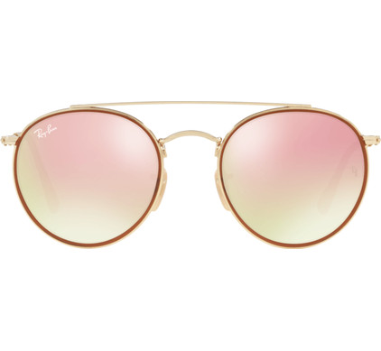 Ray-Ban Round Double Bridge RB3647N Gold / Gradient Brown Mirror Pink