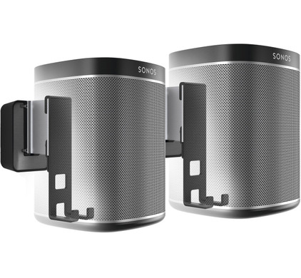 SONOS PLAY:1 Duo Pack Zwart + Muurbeugels