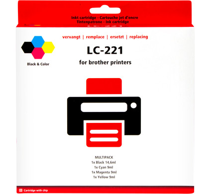 Huismerk LC-221 4-Kleuren Pack voor Brother printers