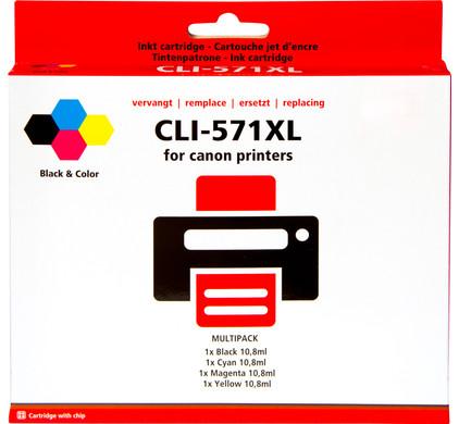 Huismerk CLI-571 XL 4-Kleuren Pack voor Canon printers