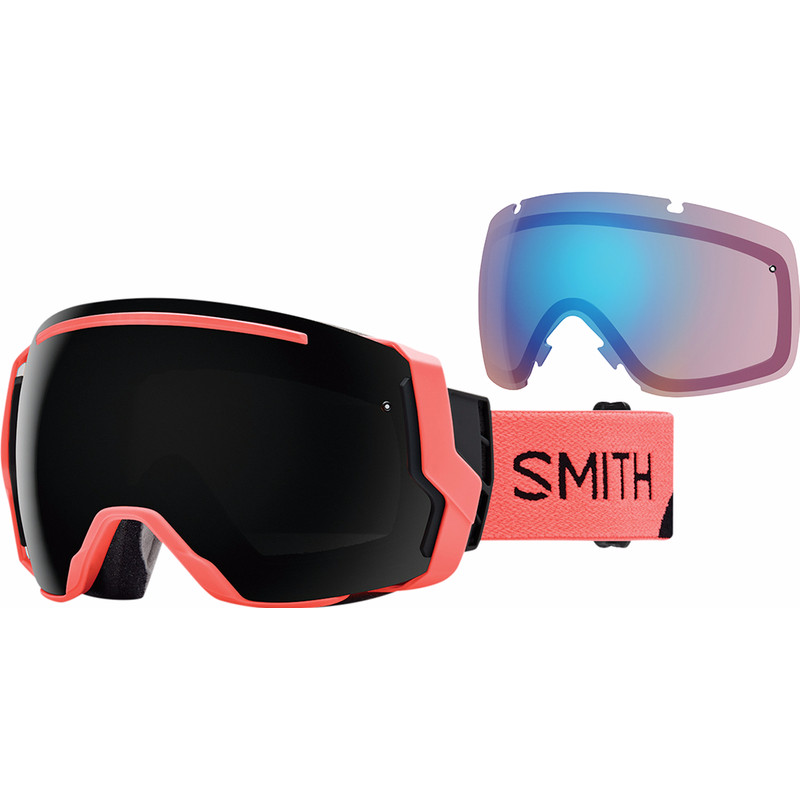 Smith I-O 7 Sunburst Split + Sun Black & Storm Rose Flash Lenzen